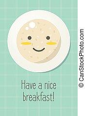 plaque, sain, flocons avoine, nourriture, sourire, porridge.