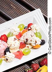 plaque, salade, arrière-plan., sain, sommet, glace, bois, fruit, frais, vue., crème