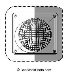 plaque, silhouette, carte, autocollant, mondiale, monochrome
