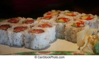 plaque, sushi, bourdonnez dehors