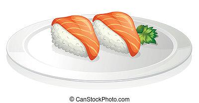 plaque, sushi, deux, ensembles