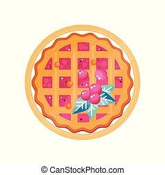 plaque, tarte, illustration, vecteur, fond, canneberge, frais, blanc