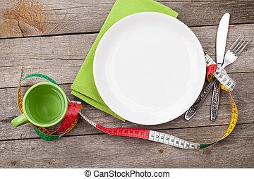 plaque, tasse, woode, fork., nourriture, régime, mesure, bande, couteau