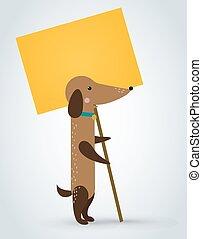 plaque, tenant animal familier, chat, vecteur, planche, animal, grève, propre, dessin animé