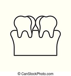 plaque, tooth decay, cavity simple outline icon