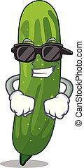 plaque, tranches, concombre, frais, super, dessin animé, frais