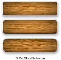 plaque, vecteur, bois