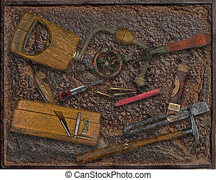 plaque, vendange, sur, rouillé, travail bois, outils