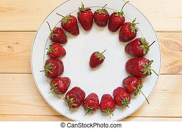 plaque, vergé, forme, fraises, cercle blanc, dehors