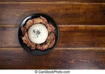 plaque, viande, sommet, portion, riz, vue
