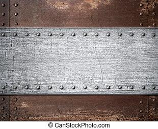 plaque, vieux, sur, métal, rouillé, fond, rivets