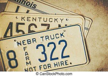 plaques, américain, licence