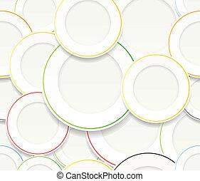 plaques, blanc, ensemble, coloré, rims