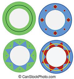 plaques, coloré