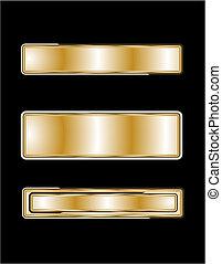 plaques, noir, nom, or