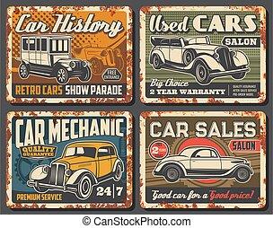 plaques, rouillé, voitures, métal, vendange, rare, retro, véhicules