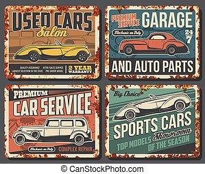 plaques, véhicules, rouillé, rare, métal, voitures, vecteur