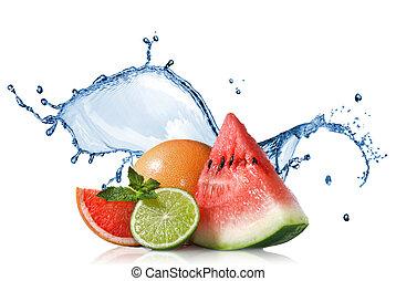 plaska, isolerat, vatten, grapefrukt, vit, mynta, vattenmelon, lime