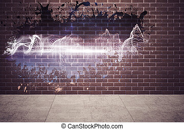 plaska, på, vägg, avslöjande, energi, våg