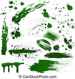 plaska, set., gift, realistisk, vektor, grön, blod, liquid., giftig, det stänker