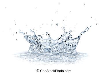 plaska, vatten, isolerat, vita, bakgrund.