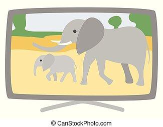Plasma Broad TV-Set Vector Elephants on Screen - Plasma...