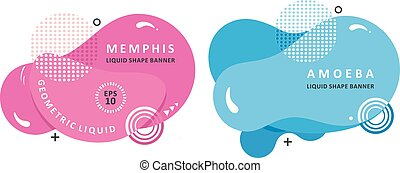 Plasma concept. Mosaic amoeba design. Abstract colorful waves. Modern vector memphis liquid shape.