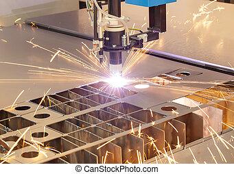 plasma, corte, metalwork, indústria, máquina