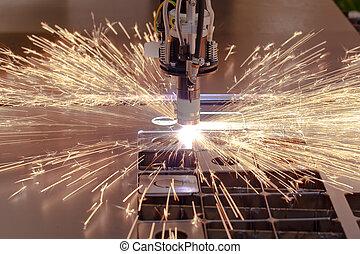 plasma, corte, processo, de, metal, com, faíscas