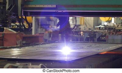 Plasma cutting of metal, cutting of metal by laser in...