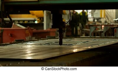 Plasma cutting of metal on an automatic laser machine, laser plasma cutting machine for cutting parts from metal, production, metalwork