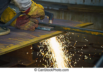 Plasma cutting steel plate
