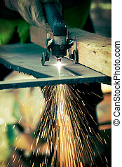 plasma cutting - Manual Plasma Cutting metal on plant