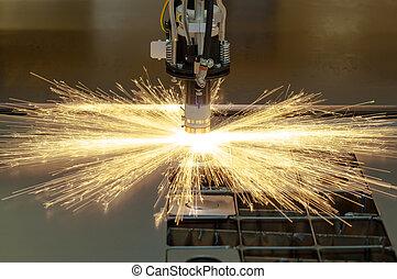 plasma, découpage, metalwork, industrie, machine