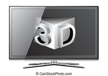 plasma, lcd, écran, tv, realisti, plat