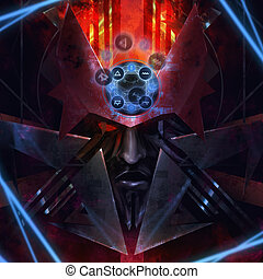 Plasma monster - Portrait illustration of a monster creature...