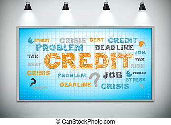 problem credit - plasma panel with problem credit concept,...