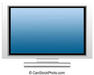 Plasma Screen - Blue plasma screen on white background. ...