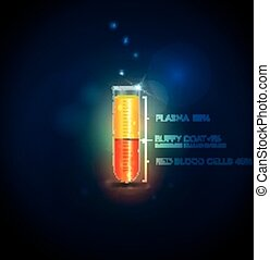 plasma, zellen, mantel, rohr, buffy, bluttest, rotes , cells.