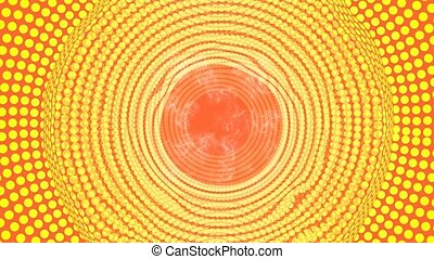 Plasmatic halftone circle area in tunnel motion, abstract vfx video background in yellow and orange, smoke effect, fiery colors