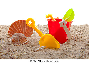 plastc, brinquedos, para, praia