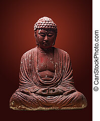 plaster buddah - Plaster Buddha on gradient background