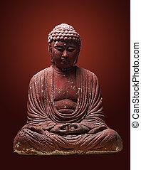 Plaster Buddha on gradient background