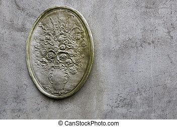 Plaster flower facade wall