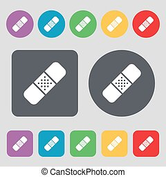 Plaster icon sign. A set of 12 colored buttons. Flat design. Vector