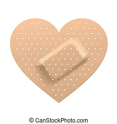 Plaster in shape of heart - Vector illustration of a plaster...