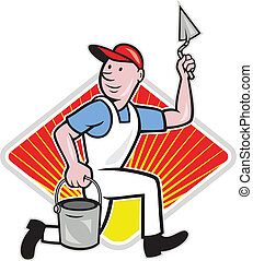 illustration of a plasterer masonry tradesman construction worker with trowel and pail on isolated background with diamond shape.
