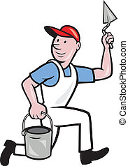 illustration of a plasterer masonry tradesman construction worker with trowel and pail on isolated background