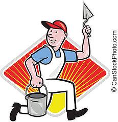 Plaster Masonry Worker Cartoon - illustration of a plasterer...