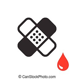Plaster or Band Aid Icon. Medical Patch Symbol